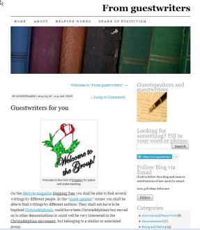 Guestspeaker's 1° article 2014 March 26