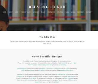 Relating to God (Weebly website) Bible & us page