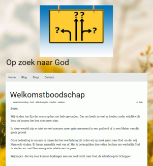 Op zoek naar God (Looking for God) (Jimdo website)