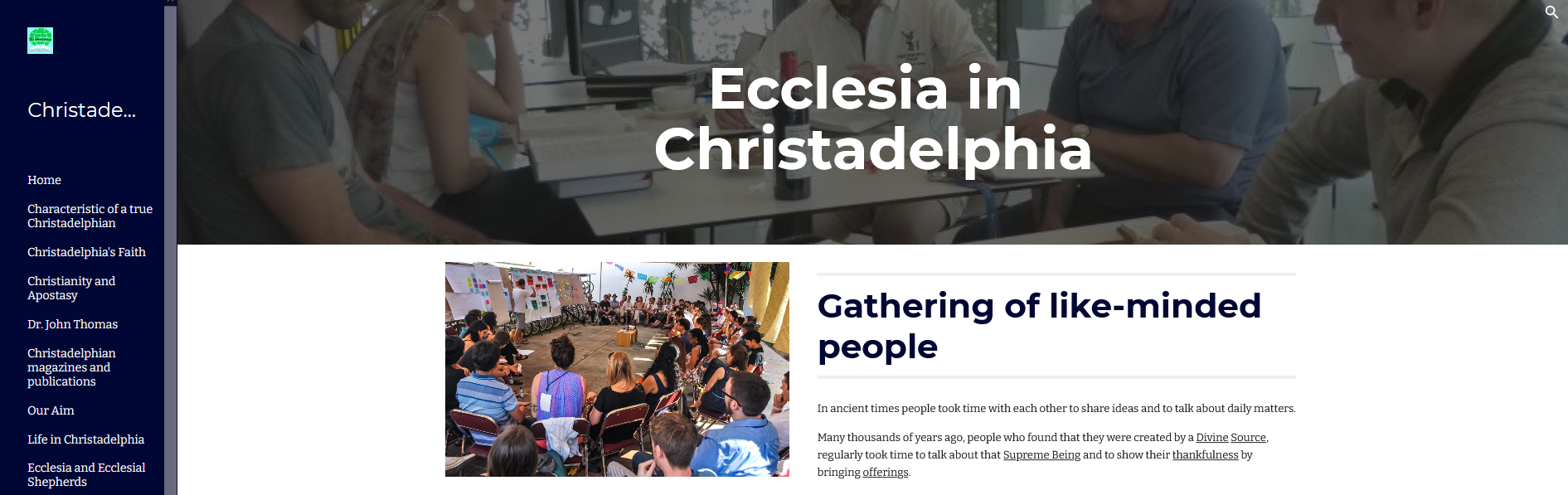 A new site looking at ecclesiae of the City of Christ
